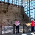 Balcony view of the quarry wall.- Dinosaur Quarry