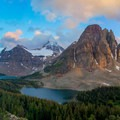 View of Mount Assiniboine and Sunburst Peak from the Niblet.- Lake Magog Hike via Bryant Creek + Wonder Pass