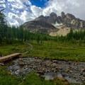 The Towers above Magog Creek along the trail to Wonder Pass.- Lake Magog Hike via Bryant Creek + Wonder Pass