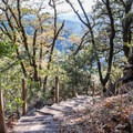 Stairs leading around Goat Rock.- Saratoga Gap, Ridge Trail + Castle Rock Loop Hike