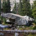 Boulder at the inlet of Red Pine Lake.  - Pfeifferhorn Peak Climb