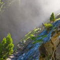 Hiker on the Mist Trail on the way up to Vernal Falls.- John Muir Trail Section 1