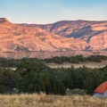 Spectacular views of the Bookcliffs at sunset.- North Fruita Desert Campground, 18 Road Camping