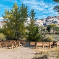 The amphitheater has a nice view of the river.- Green River Campground
