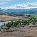 View of the campground and river from the main park road.- Green River Campground