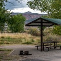 Most sites have picnic shelters.- Fruita Campground