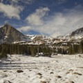 Mount Alice near Lion Lake 1. When the snows melt in spring and summer, these clearings become marshland and alpine meadow.- Lion Lakes Hike