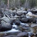 Unnamed falls below Calypso Cascades.- Lion Lakes Hike