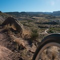 Great view of the trail in from the top of Curt's Lane.- Lunch Loop Mountain Bike Trails: Curt's Lane + Miramonte Rim Loop