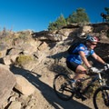 There's plenty of rock here for a challenging ride.- Lunch Loop Mountain Bike Trails: Curt's Lane + Miramonte Rim Loop