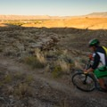 The sunset over Grand Junction.- Lunch Loop Mountain Bike Trails: Curt's Lane + Miramonte Rim Loop