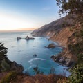 Looking north from the Waterfall House at sunset.- McWay Falls