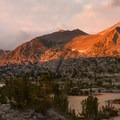 Sunset over Seven Gables Peak.- John Muir Trail Section 2