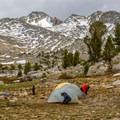 Camp at Marie Lake.- John Muir Trail Section 2