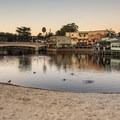 Capitola's charming bay and bridge.- Capitola Beach
