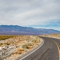 Driving through Badwater.- Death Valley National Park