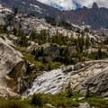 The upper reaches of the Middle Fork Kings River flows through Le Conte Canyon.- John Muir Trail Section 3