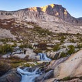 A small cascade by Upper Palisade Lake.- John Muir Trail Section 3