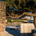 Tiki statue at Pleasure Point.- Pleasure Point