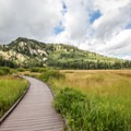 The boardwalk around the lake makes this a very accessible trail.- Silver Lake Loop Trail Hike
