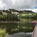 There is some fishing to be had on one of the docks.- Silver Lake Loop Trail Hike
