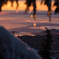 Sunset from inside the cabin.- Mount Steele Hike