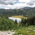 The view of Silver Lake from the trail to Twin Lakes.- Twin Lakes Hike