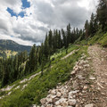 The rocky trail up to Twin Lakes.- Twin Lakes Hike