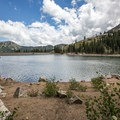 There are numerous picnic spots around the lake.- Twin Lakes Hike