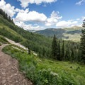 View of Big Cottonwood Canyon from the Twin Lakes Trail.- Twin Lakes Hike
