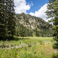 Views of the ski resort from the trail.- Lake Solitude Trail Hike