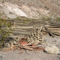 Pile of rail ties.- Scotty's Grave + Tie Canyon Trail Hike