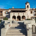 Bridge over the swimming pool at Scotty's Castle.- Scotty's Castle