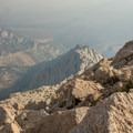 Lone Pine from the ridge during a forest fire.- Lone Pine Peak Climb
