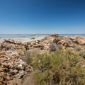 The view of the Great Salt Lake from Lady Finger Point.- Lady Finger Point
