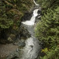 30-foot middle two-tiered drop of Twin Falls, South Fork Snoqualmie River.- Twin Falls Hike via West Trailhead