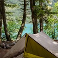 Campsite at the Head of Bowman Lake Campground.- Pacific Northwest National Scenic Trail Section 1