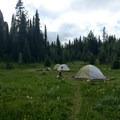 Lake Magog Campground tent platforms and food-safe hoists.- Lake Magog Hike via Bryant Creek + Wonder Pass
