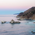 Sunrise colors from the Waterfall House.- McWay Falls