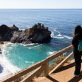 Viewing the cove from the path.- McWay Falls