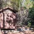 Vault toilets at Castle Rock Campground.- Castle Rock Campground