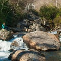 The first view of the Whitewater River.- Upper Whitewater Falls Hike