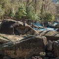 The bridge across the Whitewater River.- Upper Whitewater Falls Hike