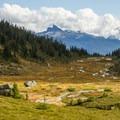 Looking back down the meadows, Black Tusk in the distance.- Brandywine Meadows Hike