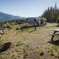 RV sites at Whistler RV Park and Campground.- Whistler RV Park + Campground