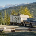 A typical RV site at Whistler RV Park and Campground.- Whistler RV Park + Campground