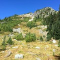 Mount Tamanos becomes visible entering the Owyhigh Lakes Basin.- Tamanos Mountain Hike