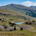 View of the range's highest mountain, Delano Peak, and Mud Lake.- Tushar Skyline Trail Hike
