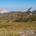 Mount Baldy (left) and Mount Belknap (right), and the highest maintained road in Utah (middle).- Delano Peak Hike