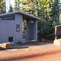 There is one vault toilet for the whole campground.- Lava Camp Lake Campground
